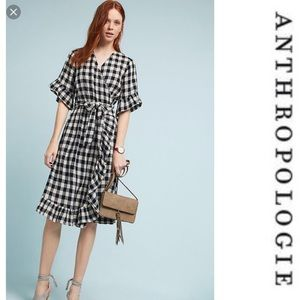 Anthropologie Fluttered Gingham Wrap Dress New PS